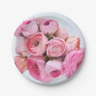 Rosa Ranunculusbündel Pappteller