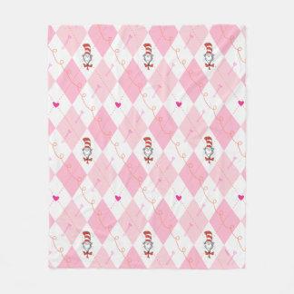 Rosa Rauten-Katze Dr.-Seuss Valentine | im Hut Fleecedecke
