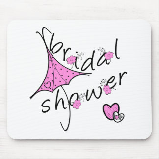 Rosa Regenschirm-Brautparty Mauspads