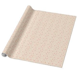 Rosa Retro Punkt-SahneBlumen mit Monogramm Geschenkpapier