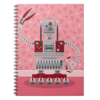 Rosa Retro Roboter-Notizbuch Spiral Notizblock