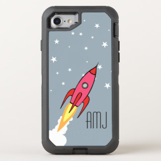 Rosa Retro Rocketship Monogramm-Kinder OtterBox Defender iPhone 8/7 Hülle