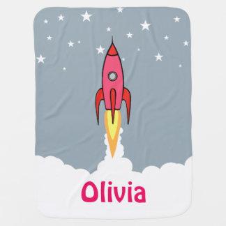 Rosa Retro Rocketship niedlicher personalisierter Babydecke