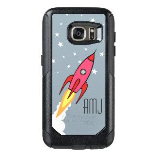 Rosa Retro Rocketship personalisierte OtterBox Samsung Galaxy S7 Hülle