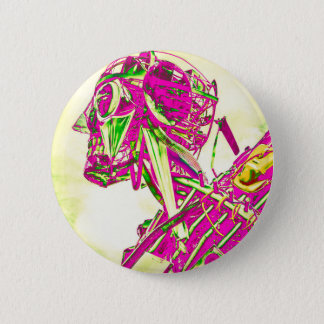 Rosa Roboter Runder Button 5,7 Cm