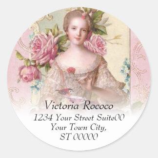 Rosa Rokoko-Adressen-Aufkleber Runder Aufkleber