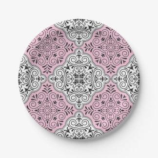 Rosa Rokoko-Muster blühen Pappteller