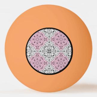 Rosa Rokoko-Muster blühen Tischtennis Ball