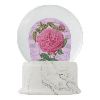 Rosa romantische Rose Schneekugel