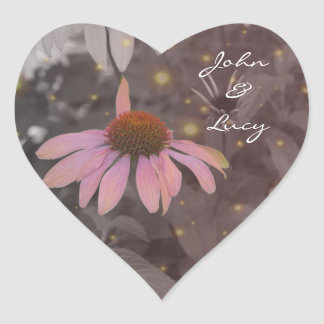 Rosa romantischer Gänseblümchen-Blumenaufkleber Herz-Aufkleber