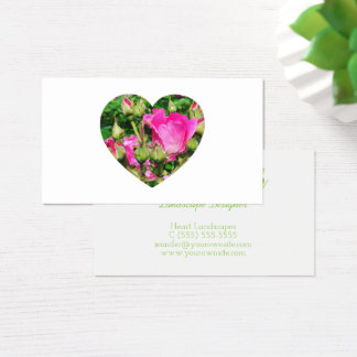 Rosa Rose blüht Herz-Form-Foto Visitenkarte