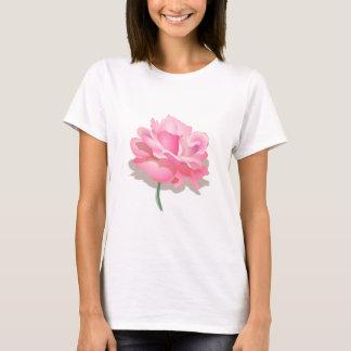 ROSA ROSE, BLUMENBLÄTTER UND STAMM, ROSEN-BLUME IN T-Shirt