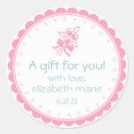 Rosa Rose-Danken Ihnen Runde Sticker