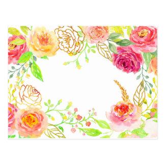 Rosa Rose des Watercolor mit Goldfolienrahmen Postkarten