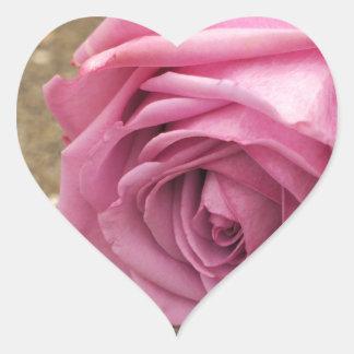Rosa Rose Herz-Aufkleber