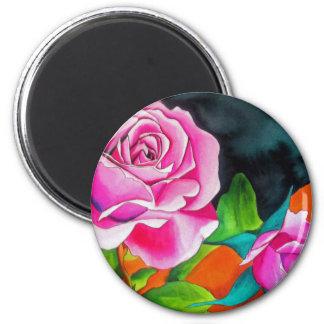 Rosa Rose mit orange Watercolorkunst Runder Magnet 5,1 Cm