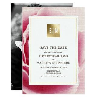 Rosa Rose Save the Date, die Foto-Mitteilung 12,7 X 17,8 Cm Einladungskarte
