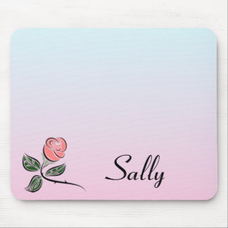 Rosa Rose w/Pink und blaue Steigungs-Farben Mousepad