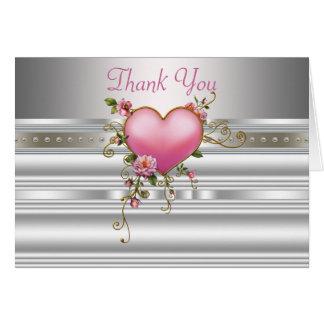 Rosa RosecSilver Weiß dankt Ihnen Karten