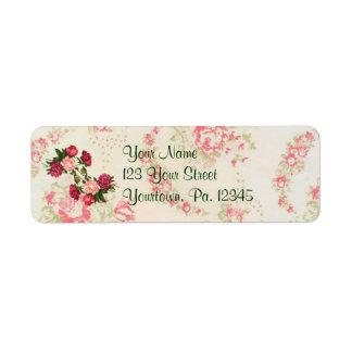 Rosa Rosen-Adressen-Etikett Rücksende Aufkleber