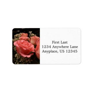 Rosa Rosen-Adressen-Etiketten Adressetiketten