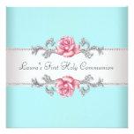 Rosa Rosen-aquamarine Mädchen-aquamarine erste Personalisierte Einladungen