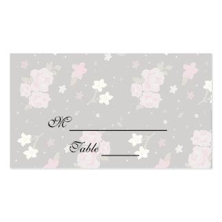 Rosa Rosen auf schwarzem Blumenentwurf Placecards Visitenkartenvorlagen