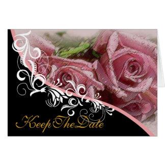 Rosa Rosen behalten die Datums-Hochzeits-Karte Mitteilungskarte