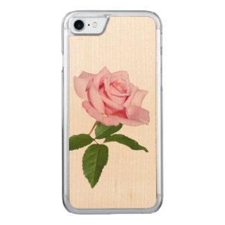 Rosa Rosen-Blume mit Tau-Tropfen Carved iPhone 8/7 Hülle