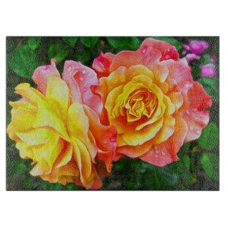 Rosa Rosen-Blumen-Blumenöl-Malerei Schneidebrett