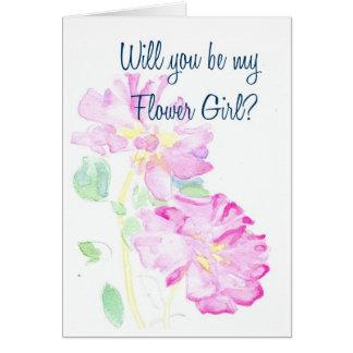 Rosa Rosen-Blumen-Mädchen-Antrag Karte