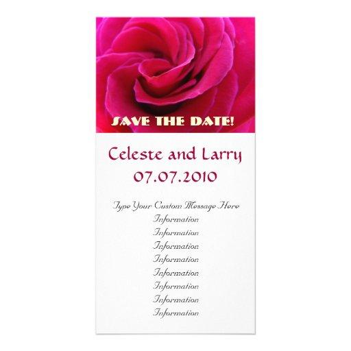 Rosa Rosen-Blumen-Spirale Save the Date! Karten Photokartenvorlage