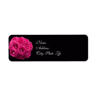 Rosa Rosen-Blumenstrauß-Hochzeits-Adressen-Etikett Kleiner Adressaufkleber