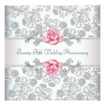 Rosa Rosen-Damast-Silber-25. Hochzeits-Jahrestag Individuelle Ankündigskarten