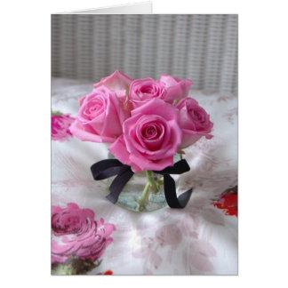 Rosa Rosen danken Ihnen oder Beileid Notecard Karte