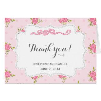 Rosa Rosen danken Ihnen zu kardieren Karte