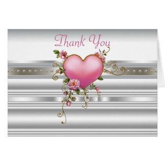 Rosa Rosen, die Herz Weiß perlt, danken Ihnen Karte