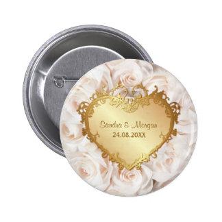 Rosa Rosen-Eleganz Champagne Runder Button 5,1 Cm