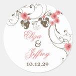 Rosa Rosen Fleur eleganter Hochzeits-mit Runder Aufkleber