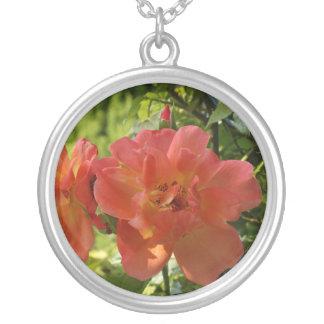 Rosa Rosen-Foto-großes Silber überzogen ringsum Versilberte Kette