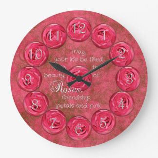 Rosa Rosen-Freundschafts-Uhr Große Wanduhr