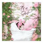 Rosa Rosen-Garten-Baby-Dusche Individuelle Ankündigungskarte