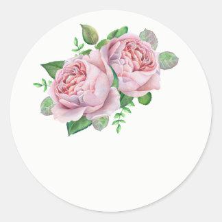 Rosa Rosen-Gastgeschenk Hochzeits-Aufkleber Runder Aufkleber