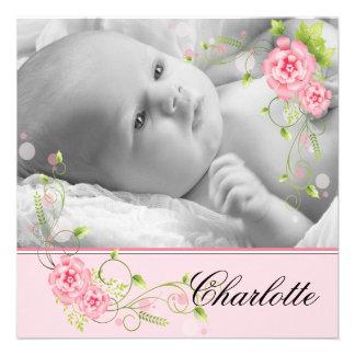 Rosa Rosen-Geburts-Mitteilungen Einladungskarten