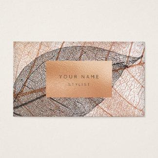 Rosa Rosen-Goldblatt-Pfirsich-Glas Schwarz-weiß Visitenkarten
