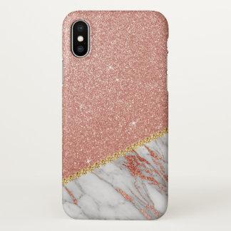 Rosa Rosen-GoldGlitzer-und -schein-Marmor iPhone X Hülle