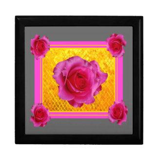 Rosa Rosen-Goldgraue Muster-Geschenke Schmuckschachtel