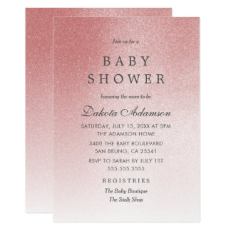 Rosa Rosen-GoldImitat-Glitter der Baby-Duschen-  12,7 X 17,8 Cm Einladungskarte