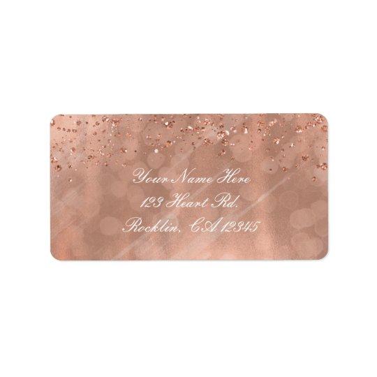 Rosa Rosen-GoldImitat-Glitter-Glamour-Einladung Adressetikett