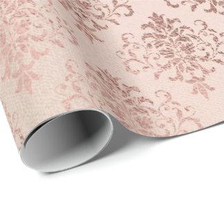 Rosa Rosen-Goldköniglicher mit Blumendamast-dünnes Geschenkpapier